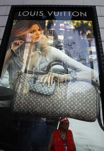 Louis Vuitton poster at a shopping mall in Bangkok, Thailand.
