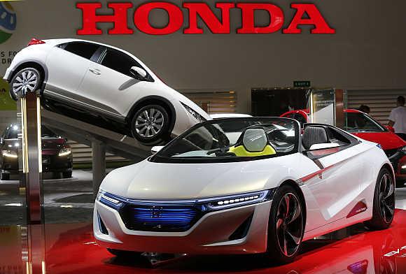 Honda roadster EV-Ster electric car on display in Paris, France.