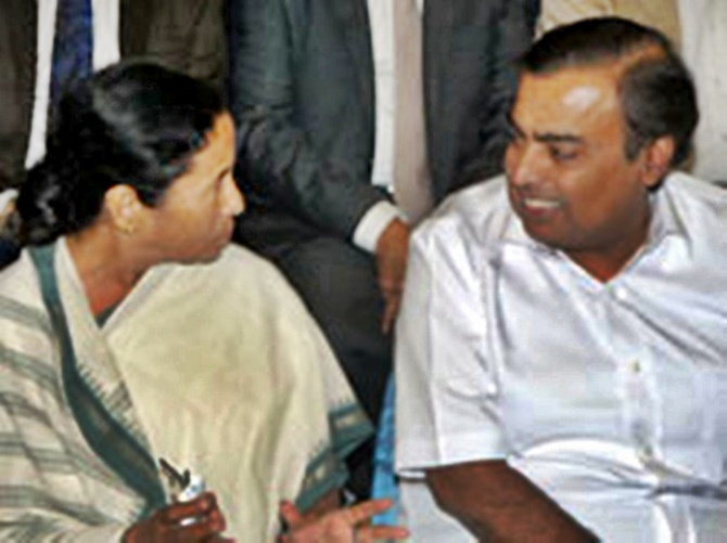 Mamata Banerjee with Mukesh Ambani.