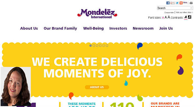 Homepage of Mondelez International. Inset, Tiffany Sepanski.