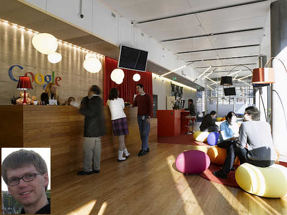 Google's office in Zurich, Switzerland. Inset, Billy Biggs.