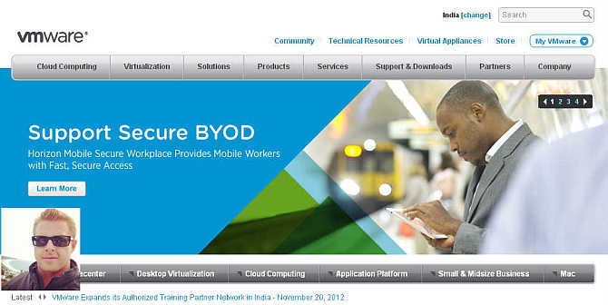 Homepage of VMWare. Inset, Timothy Young.