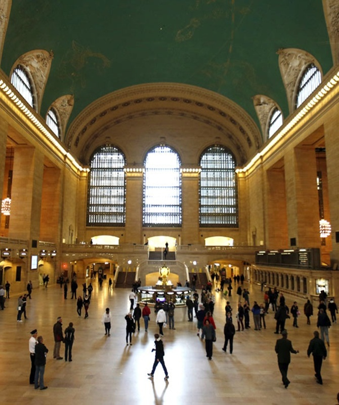 Commuters move through the grand hall of Grand Central Terminal in New York.
