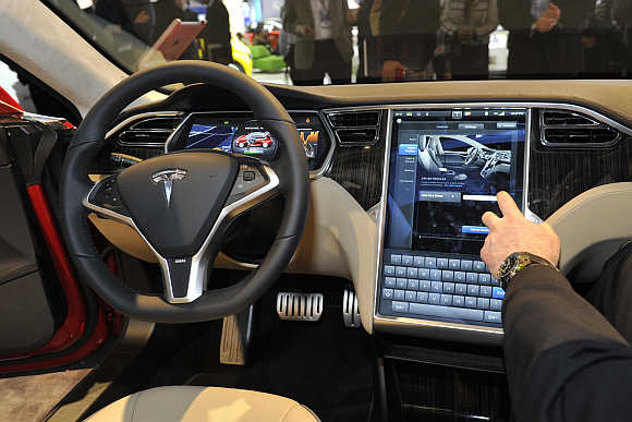 View of the interior of Tesla Model S in Detroit, Michigan.