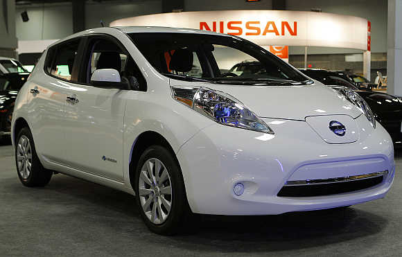 Nissan Leaf at the Washington Auto show.