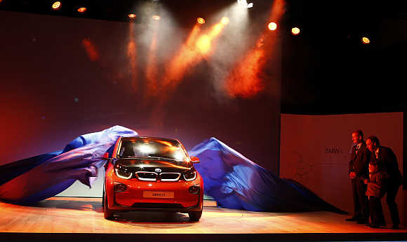 BMW i3 electric car is unveiled at a ceremony in London.