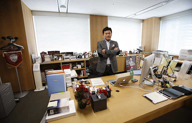 Hiroshi Mikitani, CEO, Rakuten, during an interview with Reuters in Tokyo.