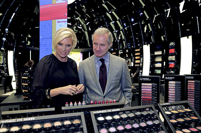 Fabrizio Freda, President and CEO, The Estee Lauder Companies, and Karen Buglisi, Global Brand President, M.A.C Cosmetics, in the M.A.C shop in Paris.