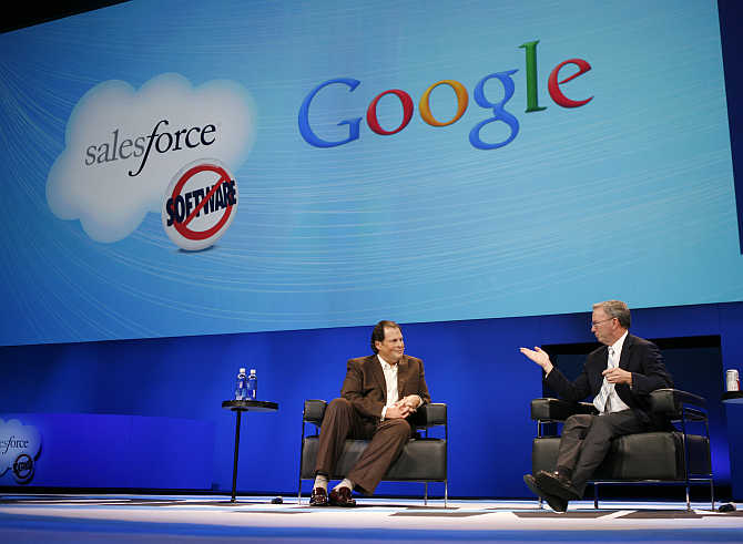 Salesforce CEO Marc Benioff with Google's Eric Schmidt in San Francisco, California.