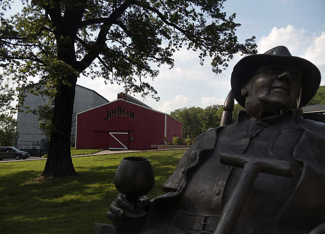 A statue of Jim Beam at the distillery in Clermont, Kentucky, United States.