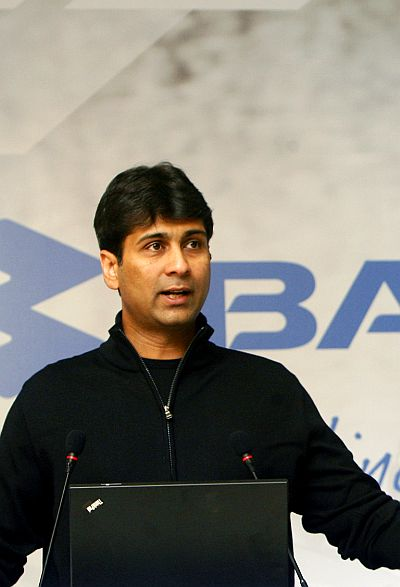 Managing Director of Bajaj Auto Rajiv Bajaj speaks during a news conference.