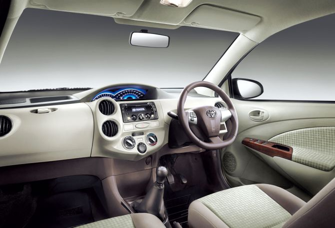 Interior of Toyota Etios Liva.