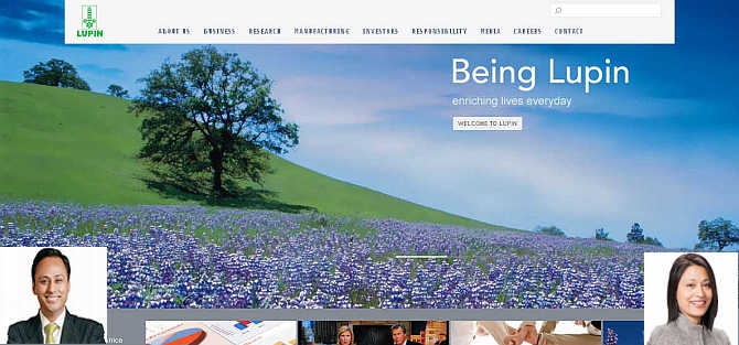 Homepage of Lupin Limited. Inset, Nilesh Gupta, left, and Vinita, right.