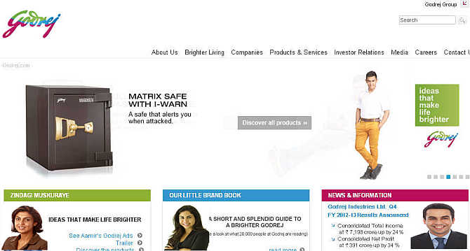 Homepage of Godrej Group. Inset, Tanya Dabash, left, Nisaba Godrej, centre, and Pirojsha Godrej, right.