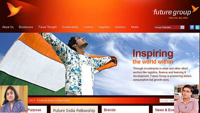 Homepage of Future Group. Inset, Ashni, left, and Vivek Biyani, right.
