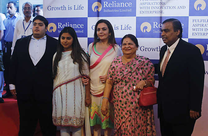 Mukesh Ambani with son Akash, daughter Isha, wife Nita and mother Kokilaben in Mumbai.