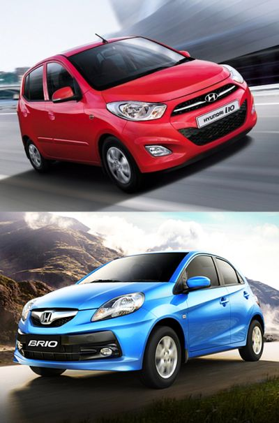 Hyundai i10 (above) and Honda Brio.
