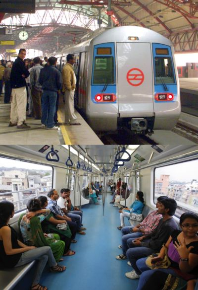 Delhi Metro (top), Commuters ride inside a carriage of a Namma Metro (below).
