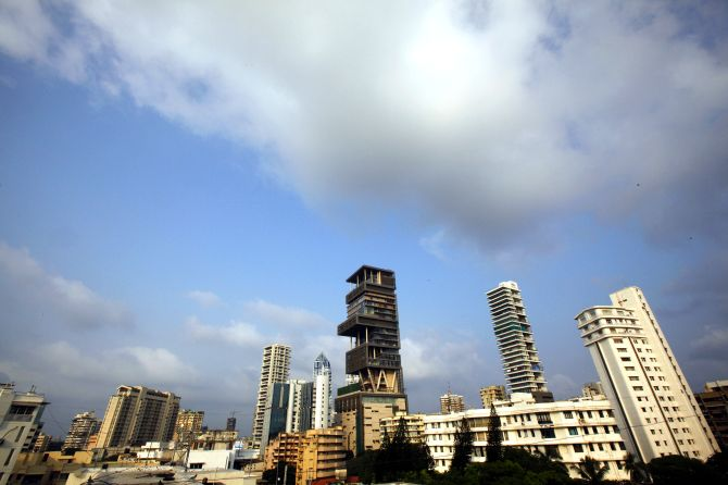 A view of the new house (C) of Mukesh Ambani, chairman of Indian energy company Reliance Industries.