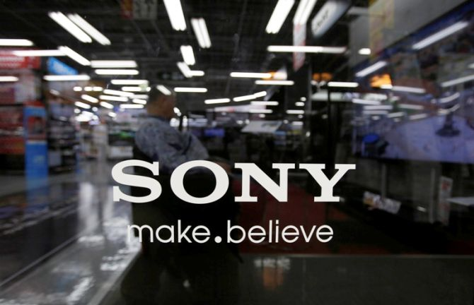 The logo of Sony Corp. is seen at an electronics store in Tokyo.