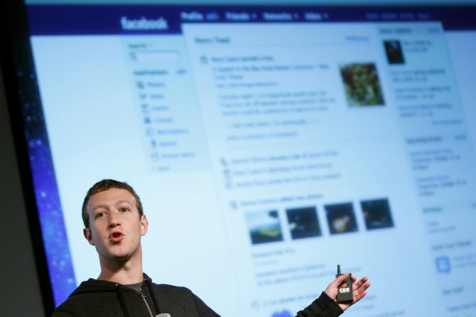 Facebook CEO Mark Zuckerberg gestures while speaking to the audience during a media event at Facebook headquarters in Menlo Park, California.