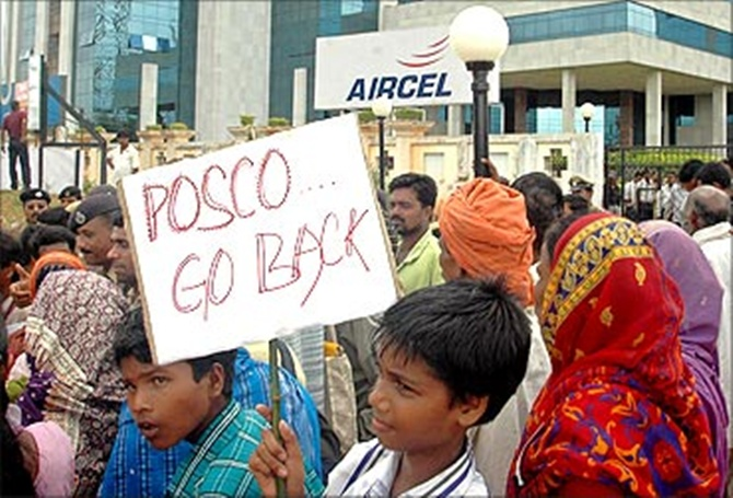 Villagers protest against the Posco plant.