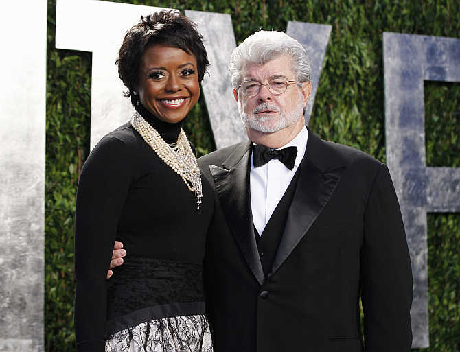 George Lucas with his partner Mellody Hobson in West Hollywood, California.