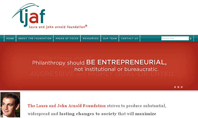 Homepage of Arnold Foundation. Inset, John Arnold