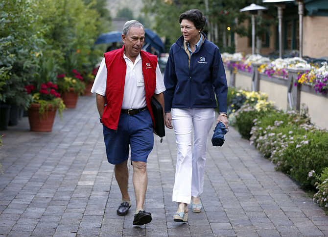 Michael Bloomberg with his partner Diana Taylor in Sun Valley, Idaho.