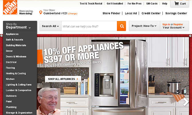 Homepage of Home Depot. Inset, Bernard Marcus.