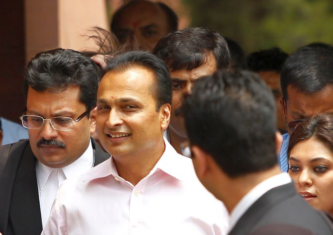 Anil Ambani, Chairman of Reliance Communications, outside Supreme Court.