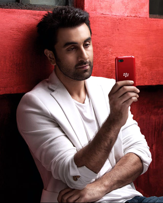 Bollywood actor Ranbir Kapoor with a Blackberry phone.