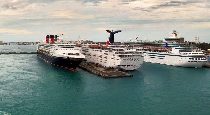 panoramic view of Prince George Wharf, Bahamas.