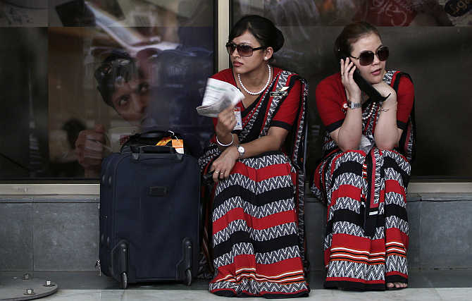 Air India air hostesses outside the domestic airport in New Delhi.