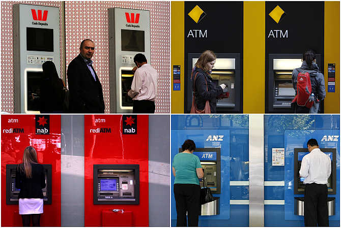 A combination of photographs shows people using ATMs in Australia.