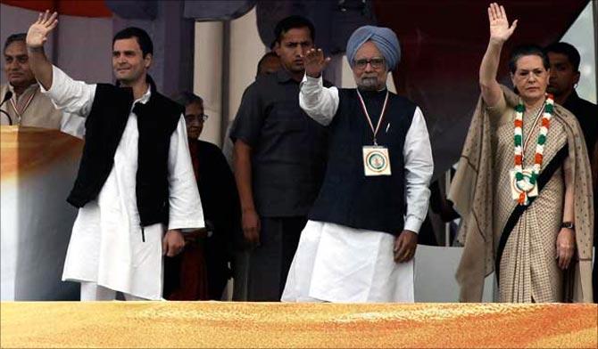 Prime Minister Manmohan Singh with Sonia Gandhi and Rahul Gandhi.