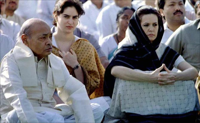Sonia Gandhi with Congress president and then Prime Minister Narasimha Rao at a prayer ceremony in 1995.