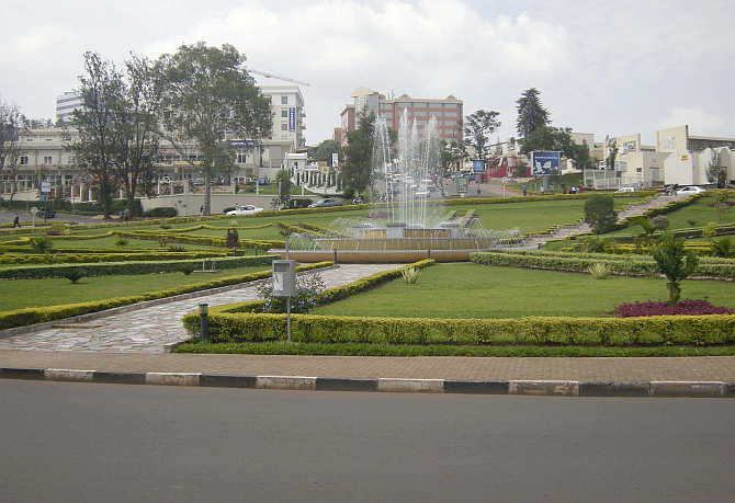 A water fountain is seen in the middle of a roundabout in Rwanda's capital Kigali.