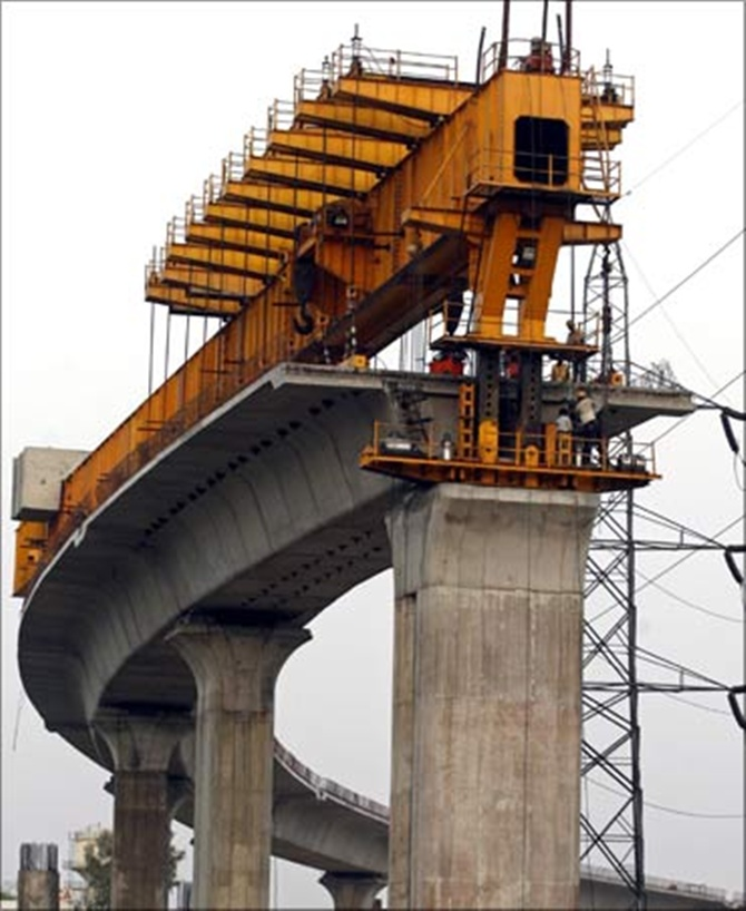 Work on the Mumbai Metro.