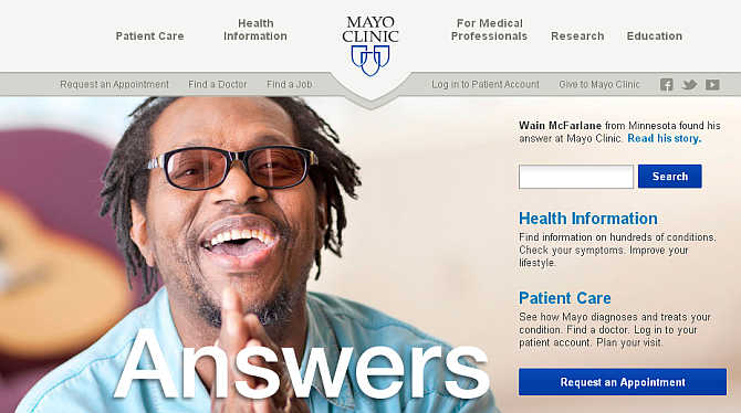 Homepage of Mayo Clinic.