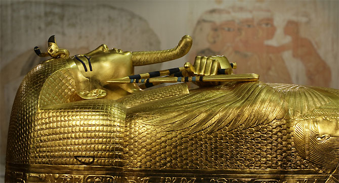 A model of Pharaoh Tutankhamen's outer coffin.