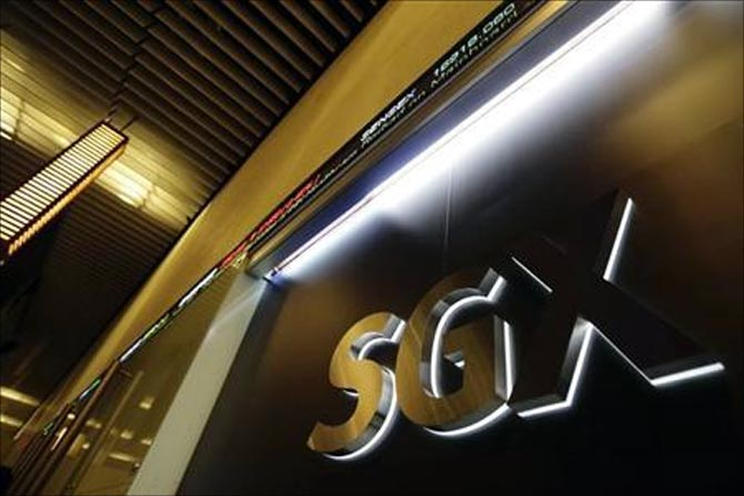 The logo of the Singapore Exchange (SGX) is pictured at its office in Singapore.
