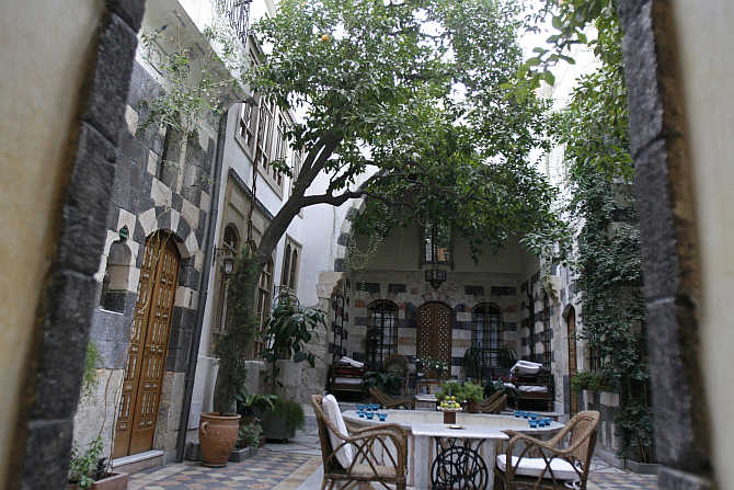 A view of the Beit al-Mamlouka boutique hotel in Old Damascus, Syria.