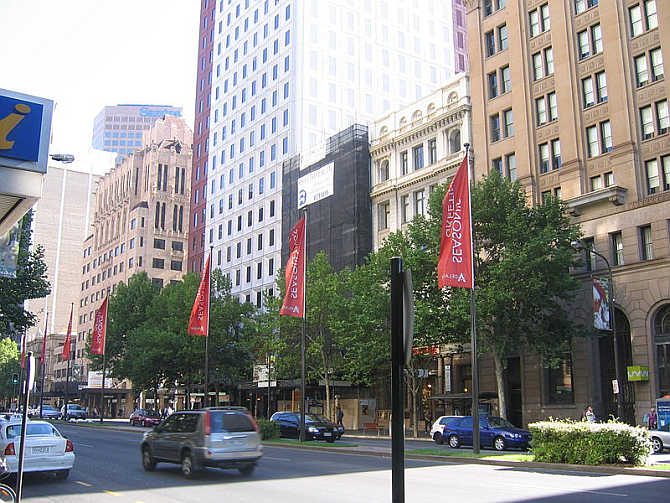 A view of King William Street in Adelaide, Australia.