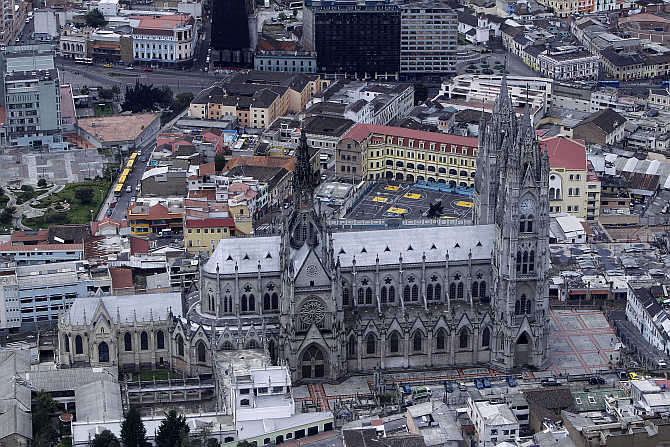 An aerial view shows Quito's Basilica church.