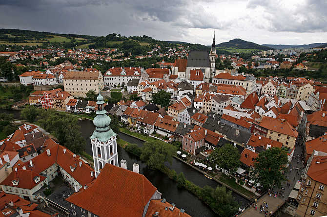 A view from the Castle tower shows the Unesco protected medieval city of Cesky Krumlov, 160km south from Prague.