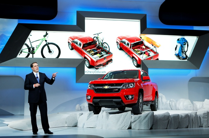 President of General Motors North America Mark Reuss introduces the new 2015 Chevrolet Colorado truck at the 2013 Los Angeles Auto Show in Los Angeles, California, November 20, 2013.