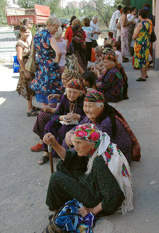 People wait in a queue to get their pensions and other payments in Ashgabat, Turkmenistan.