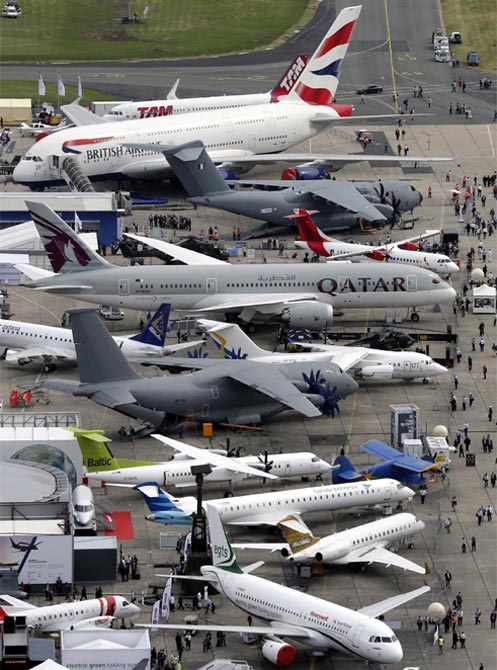 An aerial view of the 50th Paris Air Show, at Le Bourget airport near Paris.