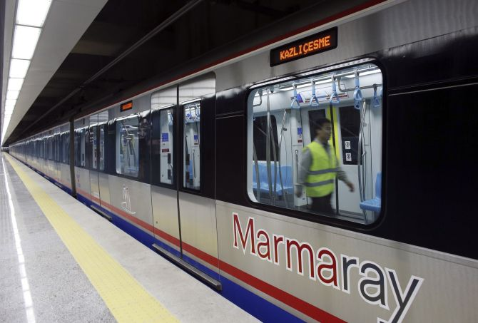 An engineer performs a last check on a train of Marmaray, a subway which links Europe with Asia some 60 metres below the Bosphorus Strait, in Istanbul.